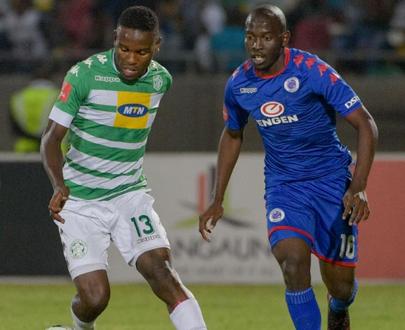 Victor Letsoalo of Bloemfontein Celtic and Aubrey Modiba of SuperSport United during the Absa Premiership 2017/18 game between Bloemfontein Celtic and SuperSport United at Dr Molemela Stadium in Bloemfontein on 20 December 2017 © Frikkie Kapp/BackpagePix