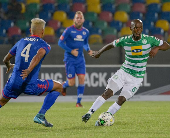 Mpho Maruping of Bloemfontein Celtic and Clayton Daniels of SuperSport United during the Absa Premiership 2017/18 game between Bloemfontein Celtic and SuperSport United at Dr Molemela Stadium in Bloemfontein on 20 December 2017 © Frikkie Kapp/BackpagePix