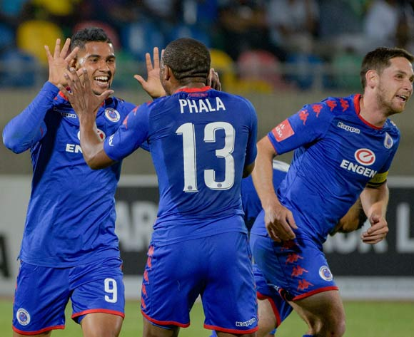 Darren Smith of SuperSport United celebrating with his team mates during the Absa Premiership 2017/18 game between Bloemfontein Celtic and SuperSport United at Dr Molemela Stadium in Bloemfontein on 20 December 2017 © Frikkie Kapp/BackpagePix