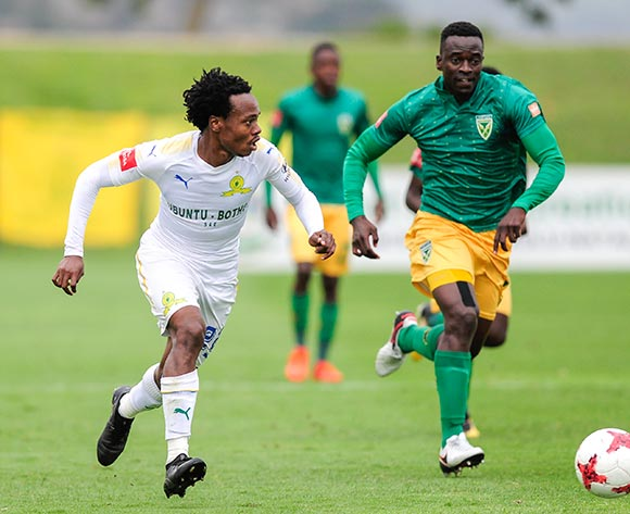 Limbikani Mzava of Lamontville Golden Arrows  chases after Percy Tau of Mamelodi Sundowns FC during the Absa Premiership 2017/18 game between Golden Arrows and Mamelodi Sundowns at Princess Magogo Stadium in Durban on 10 December 2017 © Gerhard Duraan/BackpagePix