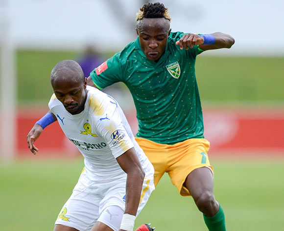 Kudakwashe Mahachi of Lamontville Golden Arrows  tries to find a way past Tebogo Langerman of Mamelodi Sundowns FC during the Absa Premiership 2017/18 game between Golden Arrows and Mamelodi Sundowns at Princess Magogo Stadium in Durban on 10 December 2017 © Gerhard Duraan/BackpagePix