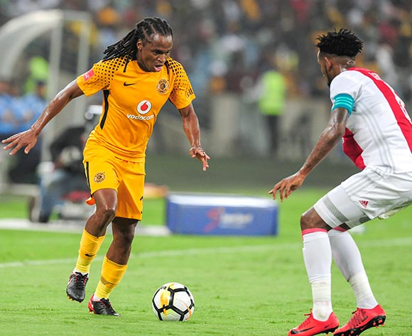 Siphiwe Tshabalala of Kaizer Chiefs FC is challenged by Mosa Lebusa, Captain of Ajax Cape Town F.C. during the Absa Premiership 2017/18 game between Kaizer Chiefs and Ajax Cape Town at Moses Mabhida Stadium, Durban on 16 December 2017 © Gerhard Duraan/BackpagePix
