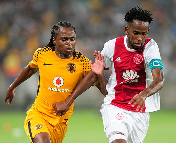 Siphiwe Tshabalala of Kaizer Chiefs FC and Mosa Lebusa, Captain of Ajax Cape Town F.C. fight each other to get to the ball first during the Absa Premiership 2017/18 game between Kaizer Chiefs and Ajax Cape Town at Moses Mabhida Stadium, Durban on 16 December 2017 © Gerhard Duraan/BackpagePix