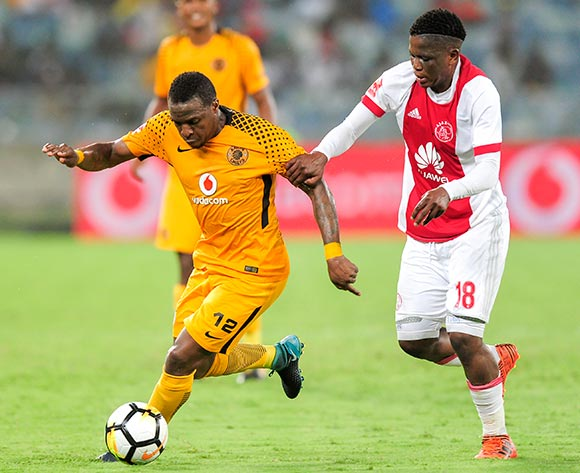 Ndiviwe Mdabuka of Ajax Cape Town F.C. tries to hold back George Maluleka of Kaizer Chiefs FC during the Absa Premiership 2017/18 game between Kaizer Chiefs and Ajax Cape Town at Moses Mabhida Stadium, Durban on 16 December 2017 © Gerhard Duraan/BackpagePix