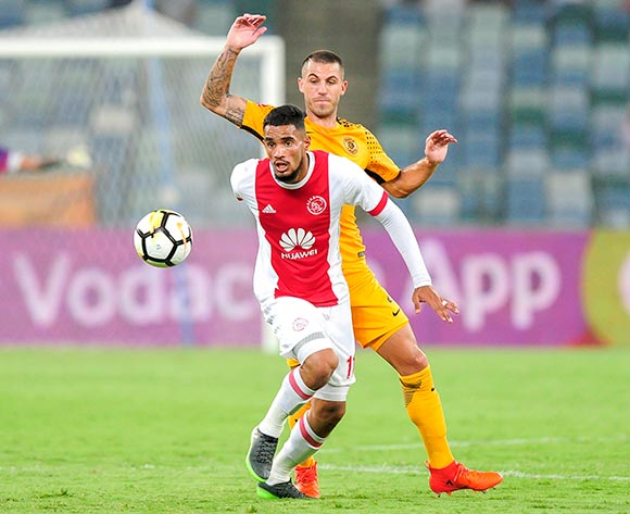 Daniel Cardoso of Kaizer Chiefs FC watches Tashreeq Morris of Ajax Cape Town F.C. boot the ball downfield during the Absa Premiership 2017/18 game between Kaizer Chiefs and Ajax Cape Town at Moses Mabhida Stadium, Durban on 16 December 2017 © Gerhard Duraan/BackpagePix