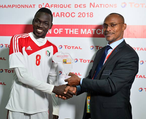 Mohamed Hashim Mohamed Idris of Sudan wins the Total Man of the Match Award during the 2018 CHAN quarter finals football game between Zambia and Sudan at the Grand stade Marrakech in Marrakech, Morocco on 27 January 2017 ©Samuel Shivambu/BackpagePix