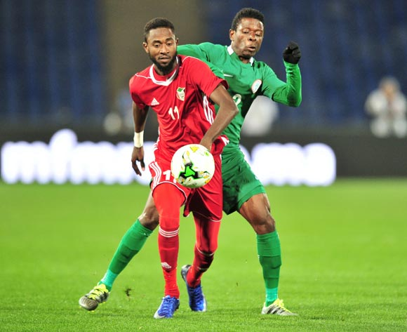 Maaz Abdelraheem Gismalla of Sudan challenged by Moses Okoro Osas of Nigeria during the 2018 CHAN semifinals football game between Sudan and Nigeria at the Grand stade Marrakech in Marrakech, Morocco on 31 January 2017 ©Samuel Shivambu/BackpagePix