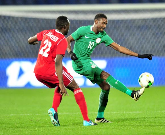 Rabiu Ali of Nigeria challenged by Abdel Latif Saeed Osman Bouy of Sudan during the 2018 CHAN semifinals football game between Sudan and Nigeria at the Grand stade Marrakech in Marrakech, Morocco on 31 January 2017 ©Samuel Shivambu/BackpagePix
