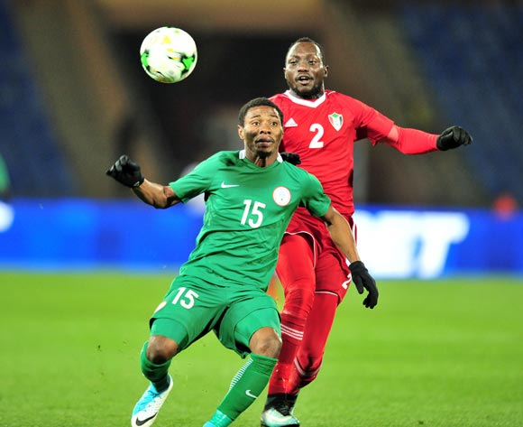 Ekundayo Solomon Ojo of Nigeria challenged by Abu Aagla Abdalla Mohamed of Sudan during the 2018 CHAN semifinals football game between Sudan and Nigeria at the Grand stade Marrakech in Marrakech, Morocco on 31 January 2017 ©Samuel Shivambu/BackpagePix