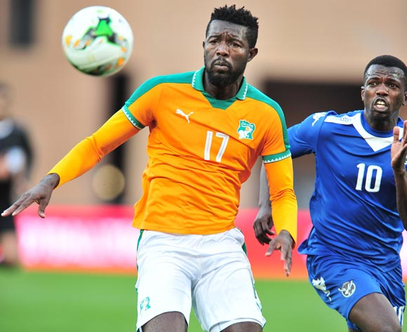 Konan Raoul Thierry of Ivory Coast challenged by Hendrik Somaeb of Namibia during the 2018 CHAN football game between Ivory Coast and Namibia at the Grand Stadium in Marrakech, Morocco on 14 January 2017 ©Samuel Shivambu/BackpagePix