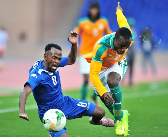 Dynamo Carlos Fredericks of Namibia challenged by Brou Manasse Ngoh of Ivory Coast during the 2018 CHAN football game between Ivory Coast and Namibia at the Grand Stadium in Marrakech, Morocco on 14 January 2017 ©Samuel Shivambu/BackpagePix