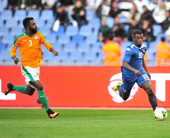 Hendrik Somaeb of Namibia challenged by Arnaud Wilfried Koutouan of Ivory Coast during the 2018 CHAN football game between Ivory Coast and Namibia at the Grand Stadium in Marrakech, Morocco on 14 January 2017 ©Samuel Shivambu/BackpagePix