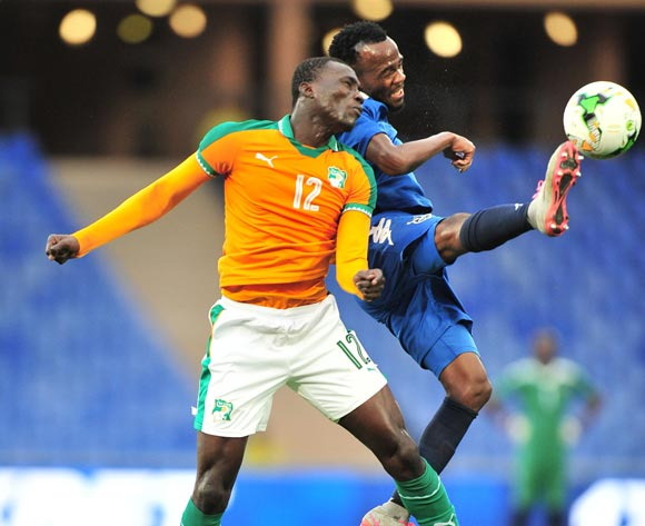 Dynamo Carlos Fredericks of Namibia challenged by Banfa Sylla of Ivory Coast during the 2018 CHAN football game between Ivory Coast and Namibia at the Grand Stadium in Marrakech, Morocco on 14 January 2017 ©Samuel Shivambu/BackpagePix