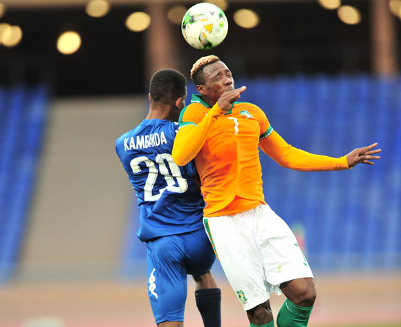 Mel William Togui of Ivory Coast challenged by Kambanda Uda Edmund of Namibia during the 2018 CHAN football game between Ivory Coast and Namibia at the Grand Stadium in Marrakech, Morocco on 14 January 2017 ©Samuel Shivambu/BackpagePix