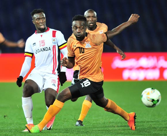 Juma Sadam Ibrahim of Uganda challenged by Alex Ngonga of Zambia during the 2018 CHAN football game between Zambia and Uganda at the Grand Stadium in Marrakech, Morocco on 14 January 2017 ©Samuel Shivambu/BackpagePix
