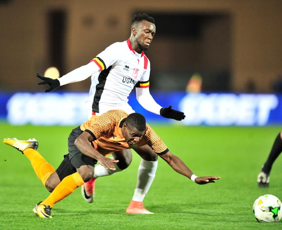 Ernest Mbewe of Zambia challenged by Juma Sadam Ibrahim of Uganda during the 2018 CHAN football game between Zambia and Uganda at the Grand Stadium in Marrakech, Morocco on 14 January 2017 ©Samuel Shivambu/BackpagePix