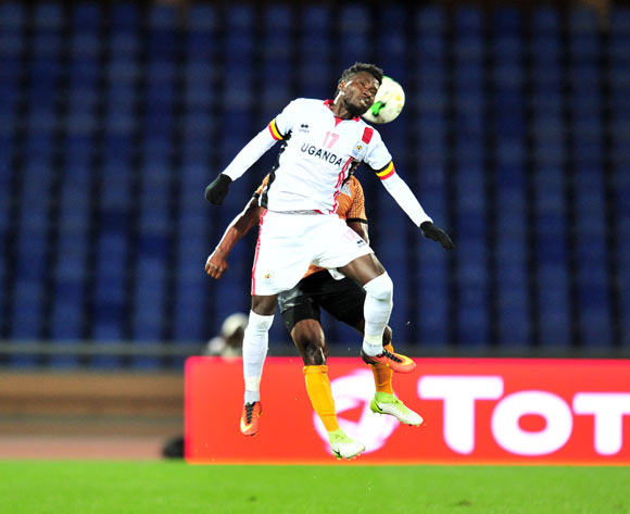 Allan Kyambadde of Uganda during the 2018 CHAN football game between Zambia and Uganda at the Grand Stadium in Marrakech, Morocco on 14 January 2017 ©Samuel Shivambu/BackpagePix