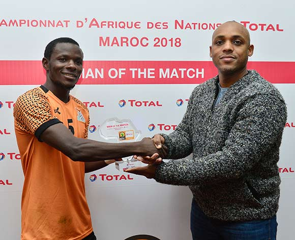 Lazarous Kambole of Zambia wins the Total Man of the Match Award during the 2018 CHAN football game between Zambia and Uganda at the Grand Stadium in Marrakech, Morocco on 14 January 2017 ©Samuel Shivambu/BackpagePix