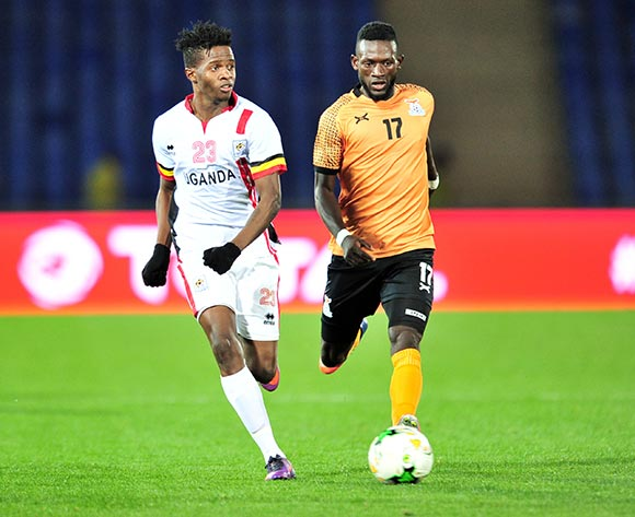 Milton Karisa of Uganda challenged by Augustine Kabaso Mulenga of Zambia during the 2018 CHAN football game between Zambia and Uganda at the Grand Stadium in Marrakech, Morocco on 14 January 2017 ©Samuel Shivambu/BackpagePix