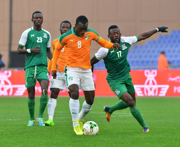 Brou Manasse Ngoh of Ivory Coast challenged by Ziyo Tembo of Zambia during the 2018 CHAN football game between Ivory Coast and Zambia at the Grand stade Marrakech in Marrakech, Morocco on 18 January 2017 ©Samuel Shivambu/BackpagePix