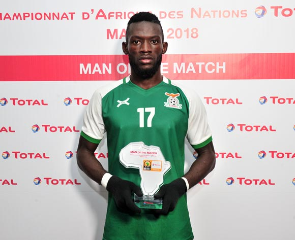 Augustine Kabaso Mulenga of Zambia wins the Total Man of the Match Award during the 2018 CHAN football game between Ivory Coast and Zambia at the Grand stade Marrakech in Marrakech, Morocco on 18 January 2017 ©Samuel Shivambu/BackpagePix