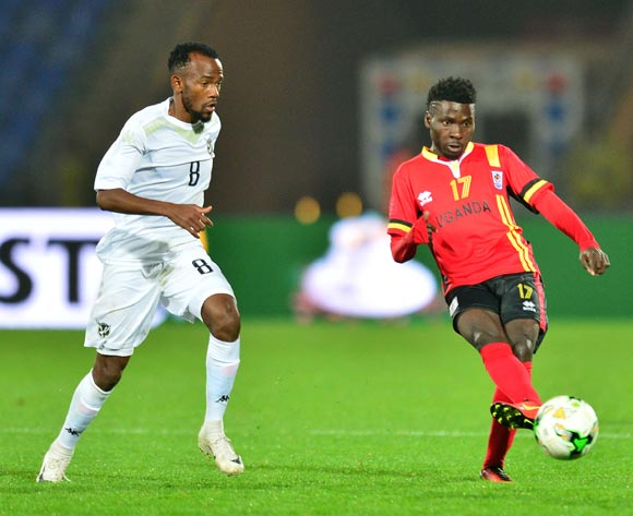 Allan Kyambadde of Uganda challenged by Dynamo Carlos Fredericks of Namibia during the 2018 CHAN football game between Uganda and Namibia at the Grand stade Marrakech in Marrakech, Morocco on 18 January 2017 ©Samuel Shivambu/BackpagePix
