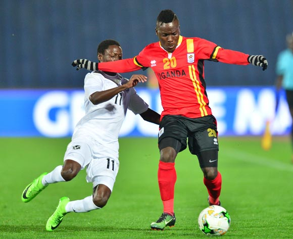 Isaac Muleme of Uganda challenged by Absalom Manjana Iimbondi of Namibia during the 2018 CHAN football game between Uganda and Namibia at the Grand stade Marrakech in Marrakech, Morocco on 18 January 2017 ©Samuel Shivambu/BackpagePix