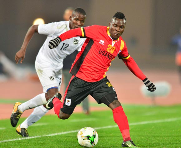 Isaac Muleme of Uganda challenged by Himeekua Ronald Ketjijere of Namibia during the 2018 CHAN football game between Uganda and Namibia at the Grand stade Marrakech in Marrakech, Morocco on 18 January 2017 ©Samuel Shivambu/BackpagePix
