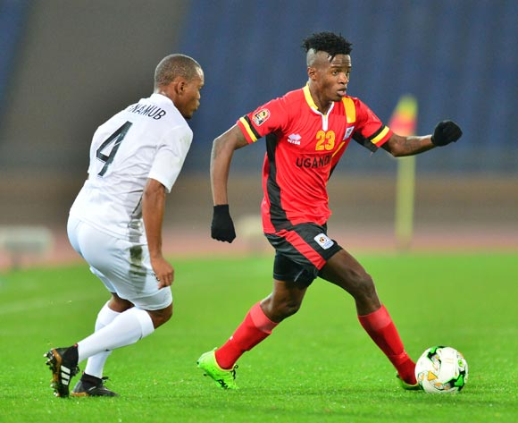 Milton Karisa of Ugandachallenged by Welwin Riaan Hanamub of Namibia during the 2018 CHAN football game between Uganda and Namibia at the Grand stade Marrakech in Marrakech, Morocco on 18 January 2017 ©Samuel Shivambu/BackpagePix