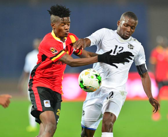 Himeekua Ronald Ketjijere of Namibia challenged by Milton Karisa of Uganda during the 2018 CHAN football game between Uganda and Namibia at the Grand stade Marrakech in Marrakech, Morocco on 18 January 2017 ©Samuel Shivambu/BackpagePix