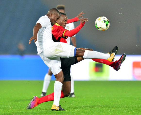 Himeekua Ronald Ketjijere of Namibia challenged by Taddeo Lwanga of Uganda during the 2018 CHAN football game between Uganda and Namibia at the Grand stade Marrakech in Marrakech, Morocco on 18 January 2017 ©Samuel Shivambu/BackpagePix