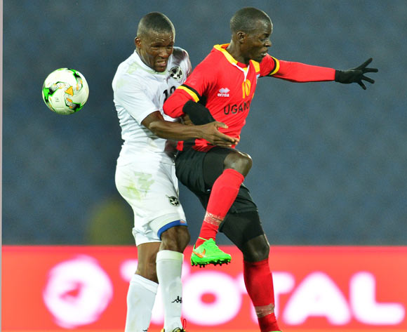 Muzamiru Mutyaba of Uganda challenged by Himeekua Ronald Ketjijere of Namibia during the 2018 CHAN football game between Uganda and Namibia at the Grand stade Marrakech in Marrakech, Morocco on 18 January 2017 ©Samuel Shivambu/BackpagePix