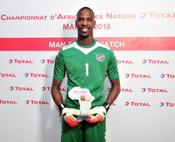 Loydt Jaseuavi Kazapua of Namibia wins the Total Man of the Match Award during the 2018 CHAN football game between Uganda and Namibia at the Grand stade Marrakech in Marrakech, Morocco on 18 January 2017 ©Samuel Shivambu/BackpagePix