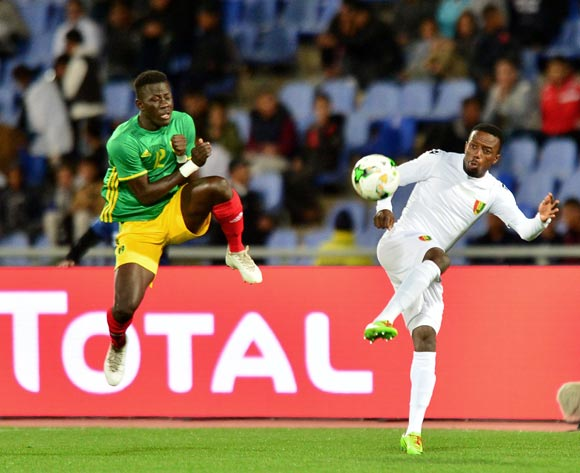 Alseny Bangoura of Guinea challenged by Demba Trawre of Mauritania during the 2018 CHAN football game between Mauritania and Guinea at the Grand stade Marrakech in Marrakech, Morocco on 21 January 2017 ©Samuel Shivambu/BackpagePix