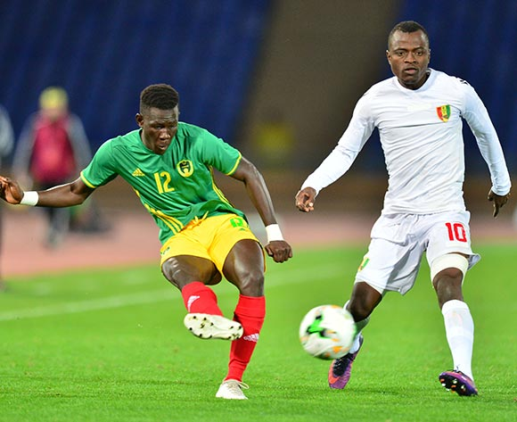 Demba Trawre of Mauritania challenged by Saidouba Bissiri Camara of Guinea during the 2018 CHAN football game between Mauritania and Guinea at the Grand stade Marrakech in Marrakech, Morocco on 21 January 2017 ©Samuel Shivambu/BackpagePix