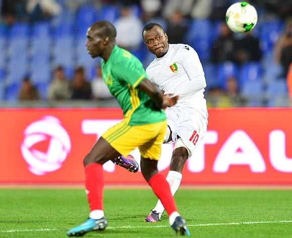 Saidouba Bissiri Camara of Guinea challenged by Mostapha Diaw of Mauritania during the 2018 CHAN football game between Mauritania and Guinea at the Grand stade Marrakech in Marrakech, Morocco on 21 January 2017 ©Samuel Shivambu/BackpagePix
