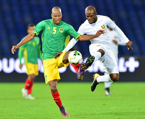 Aboubacar Camara of Guinea challenged by Sidi Mohamed Bilal Ngara of Mauritania during the 2018 CHAN football game between Mauritania and Guinea at the Grand stade Marrakech in Marrakech, Morocco on 21 January 2017 ©Samuel Shivambu/BackpagePix