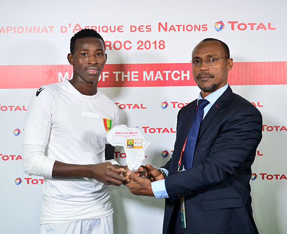 Ibrahim Sory Sankhon of Guinea wins the Total Man of the Match Award during the 2018 CHAN football game between Mauritania and Guinea at the Grand stade Marrakech in Marrakech, Morocco on 21 January 2017 ©Samuel Shivambu/BackpagePix