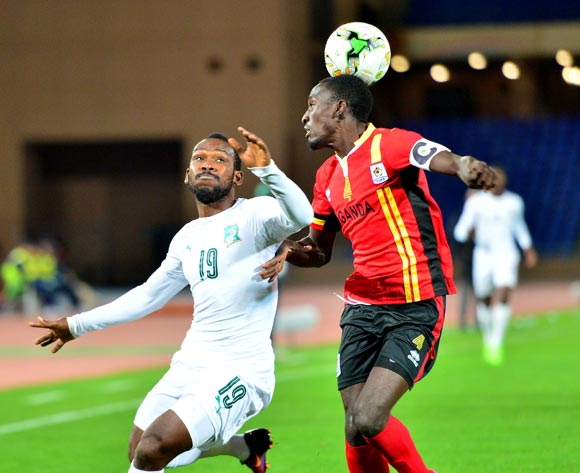 Mamadou Diomande of Ivory Coast challenged by Bernard Muwanga of Uganda during the 2018 CHAN football game between Uganda and Ivory Coast at the Grand stade Marrakech in Marrakech, Morocco on 22 January 2017 ©Samuel Shivambu/BackpagePix