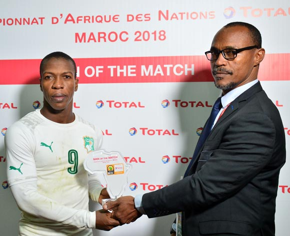 Kouame Noel Nguessan of Ivory Coast wins the Total Man of the Match Award during the 2018 CHAN football game between Uganda and Ivory Coast at the Grand stade Marrakech in Marrakech, Morocco on 22 January 2017 ©Samuel Shivambu/BackpagePix