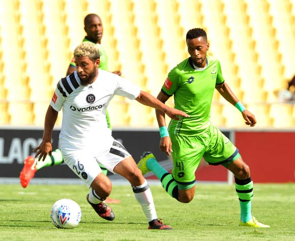 Riyaard Norodien of Orlando Pirates challenged by Molemo Mekoa of Platinum Stars during Absa Premiership 2017/18 match between Platinum Stars and Orlando Pirates in Phokeng at Royal Bafokeng Stadium  Rustenburg ,South Africa on 27 January 2018©Aubrey Kgakatsi/BackpagePix