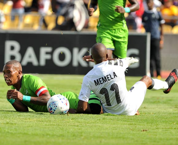 Luvuyo Memela of Orlando Pirates challenges Vuyo Mere of Platinum Stars during Absa Premiership 2017/18 match between Platinum Stars and Orlando Pirates in Phokeng at Royal Bafokeng Stadium  Rustenburg ,South Africa on 27 January 2018©Aubrey Kgakatsi/BackpagePix