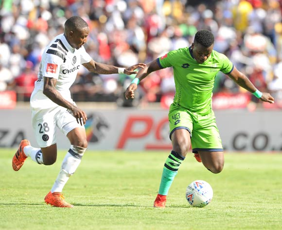 Mthokozisi Dube of Orlando Pirates challenges Zama Rambuwane of Platinum Stars during Absa Premiership 2017/18 match between Platinum Stars and Orlando Pirates in Phokeng at Royal Bafokeng Stadium  Rustenburg ,South Africa on 27 January 2018 ©Aubrey Kgakatsi/BackpagePix