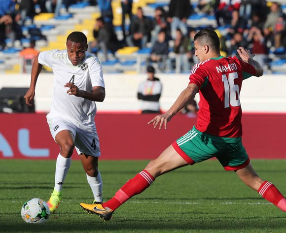 Welwin Riaan Hanamub of Namibia evades tackle from Mohammed Nahiri of Morocco  during the 2018 Chan quarterfinal football match between Morocco and Namibia at Stade Mohammed V in Casablanca, Morocco on 27 January 2018 ©Gavin Barker/BackpagePix