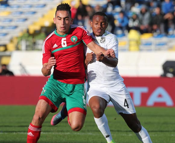 Welwin Riaan Hanamub of Namibia challenged by Badr Boulhroude of Morocco during the 2018 Chan quarterfinal football match between Morocco and Namibia at Stade Mohammed V in Casablanca, Morocco on 27 January 2018 ©Gavin Barker/BackpagePix