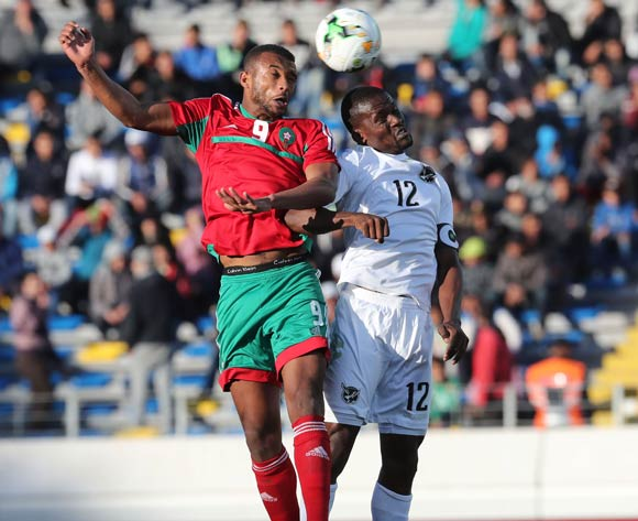 Ayoub El Kaabi of Morocco wins header against Himeekua Ronald Ketjijere of Namibia  during the 2018 Chan quarterfinal football match between Morocco and Namibia at Stade Mohammed V in Casablanca, Morocco on 27 January 2018 ©Gavin Barker/BackpagePix