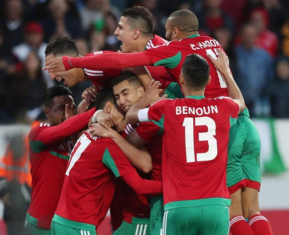 Players celebrate Salaheddine Saidi of Morocco goal during the 2018 Chan quarterfinal football match between Morocco and Namibia at Stade Mohammed V in Casablanca, Morocco on 27 January 2018 ©Gavin Barker/BackpagePix