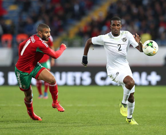 Teberius Ivo Lombard of Namibia challenged by Ismail El Haddad of Morocco during the 2018 Chan quarterfinal football match between Morocco and Namibia at Stade Mohammed V in Casablanca, Morocco on 27 January 2018 ©Gavin Barker/BackpagePix
