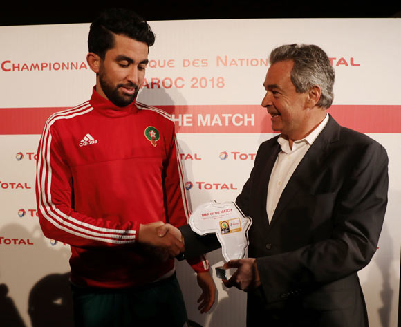 Salaheddine Saidi of Morocco wins the Total Man of the Match Award during the 2018 Chan quarterfinal football match between Morocco and Namibia at Stade Mohammed V in Casablanca, Morocco on 27 January 2018 ©Gavin Barker/BackpagePix
