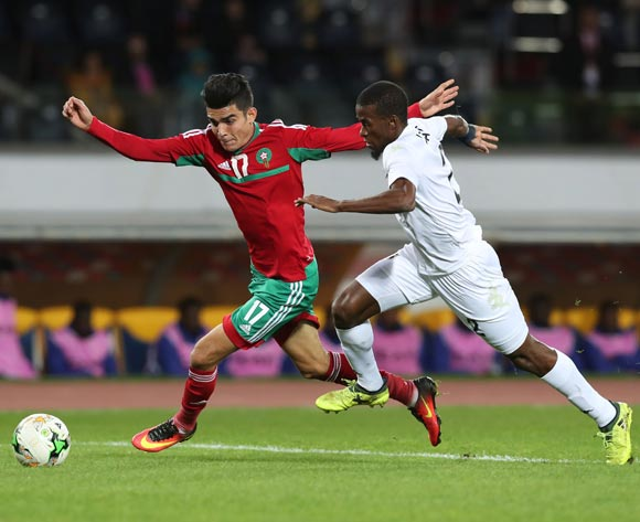 Achraf Bencharki of Morocco challenged by Teberius Ivo Lombard of Namibia during the 2018 Chan quarterfinal football match between Morocco and Namibia at Stade Mohammed V in Casablanca, Morocco on 27 January 2018 ©Gavin Barker/BackpagePix